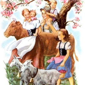 kids farmers family parents children Bavarian dutch goats trees pastures traditional costumes Volendam dirndl Lederhosen peasants folk culture