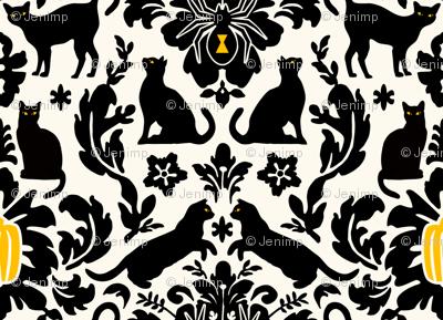 Black Cat Damask