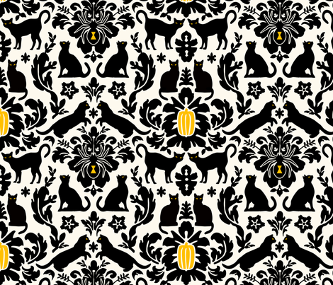 Black Cat Damask fabric by jenimp on Spoonflower - custom fabric