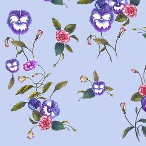 Pansies Peonies Purple on Violet Grey