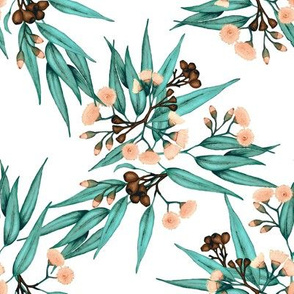 Gumnuts & Blossoms in Peach and Teal