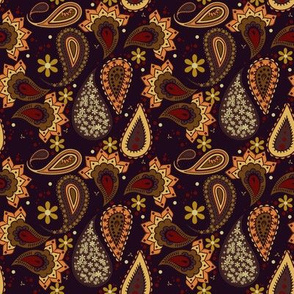 Brown and Gold Paisley Love