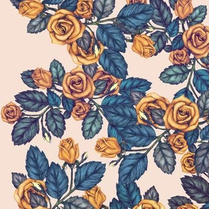 Autumn Roses Gold and Blue on Peach
