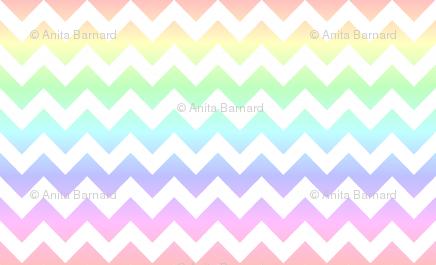 Pastel Rainbow White Chevron Wallpaper