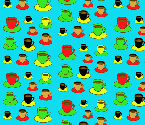 Coffee Cups in Color fabric by sillasart on Spoonflower - custom fabric