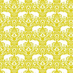Elephant Damask Mustard Green
