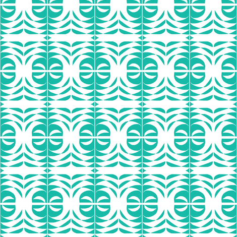 Serpentine Feathers Aqua fabric by eve_catt_art on Spoonflower - custom fabric