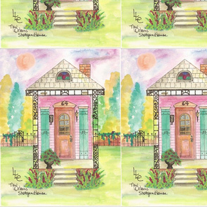 Shotgun house pink with green