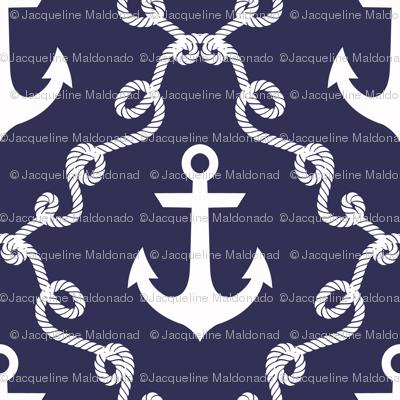 Anchor Damask Navy