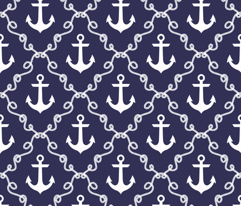Anchor Damask Navy fabric by mjmstudio on Spoonflower - custom fabric