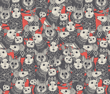 sweater mice coral small fabric by scrummy on Spoonflower - custom fabric