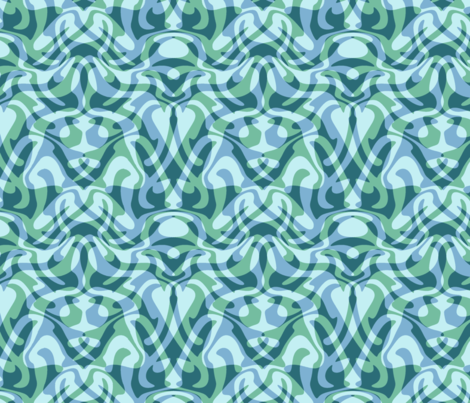 wave damask in aqua fabric by weavingmajor on Spoonflower - custom fabric