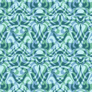 wave damask in aqua