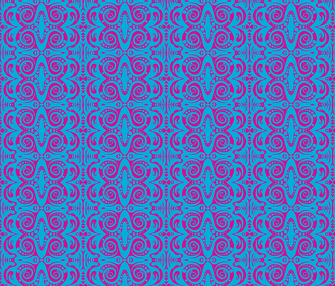 Turquoise and Pink Sketch fabric by rberlin on Spoonflower - custom fabric