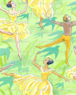 Ballet Dancers on Pale Green