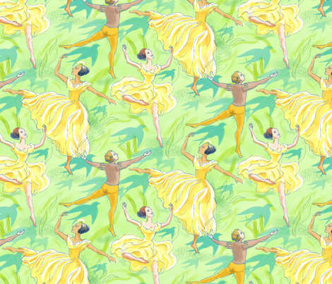 Ballet Dancers on Pale Green fabric by vinpauld on Spoonflower - custom fabric