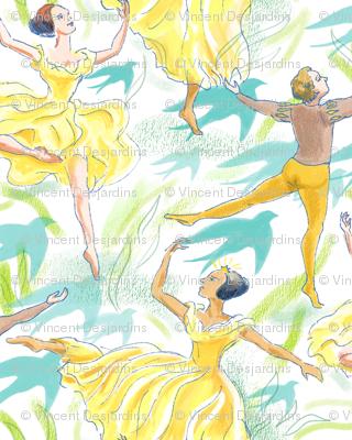 Ballet Dancers on White