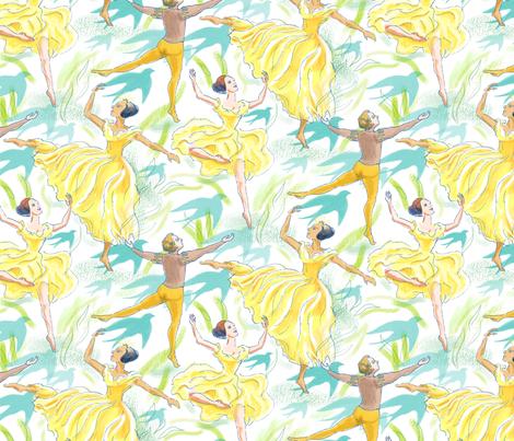 Ballet Dancers on White fabric by vinpauld on Spoonflower - custom fabric