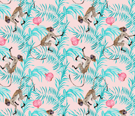 Fruity Monkeys (Rose Quartz) fabric by nouveau_bohemian on Spoonflower - custom fabric