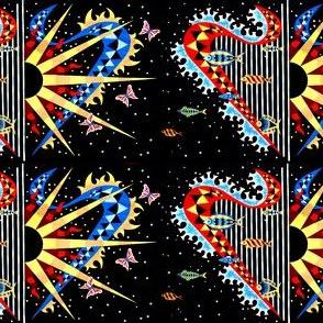 vintage tribal folk art abstract harps fishes butterfly butterflies sun stars hearts