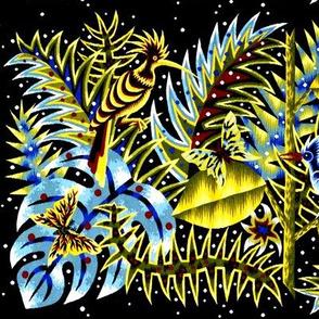 vintage retro tribal folk art abstract plants butterfly butterflies birds leaves