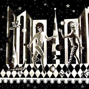 vintage harlequin pattern abstract folk art masquerade stars lute birds mono grey scale monotone monochrome black white