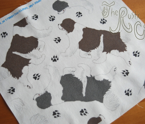 Trotting Newfoundlands and paw prints B - white