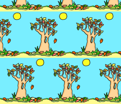 Autumn Tree with Moon fabric by sillasart on Spoonflower - custom fabric