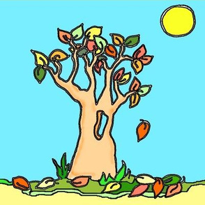 Autumn Tree with Moon