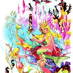 vintage mermaids ocean sea underwater castle kingdom fishes corals barnacles anemone seahorses aquatic queen princess fairy tales stories retro marine