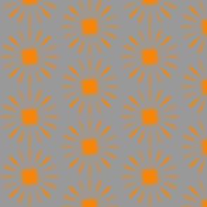 starburst large -orange-grey