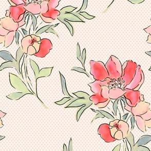 Vintage Floral Dot Pink