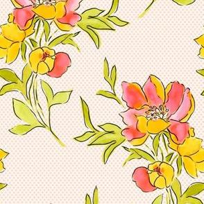 Vintage Floral Dot Yellow