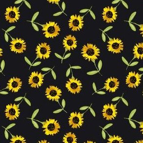 Ditzy Sunflowers on Black Background