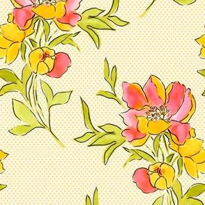 Vintage Floral Yellow Dot