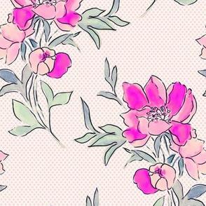Vintage Floral Fuchia Dot