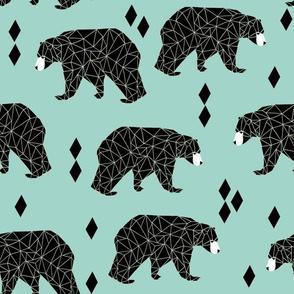 bear // geometric triangles mint nursery animals southwest print