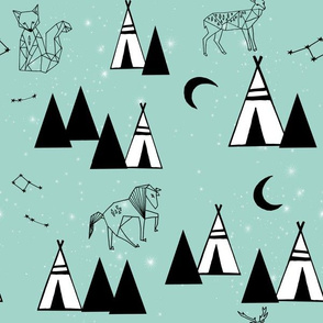 mint nursery // black and white nursery tipi animals constellations print