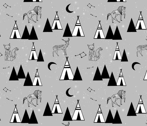 Grey Constellations Tipi Southwest Nursery Baby Teepee Animal