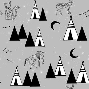grey constellations // tipi southwest nursery baby teepee animal constellations print