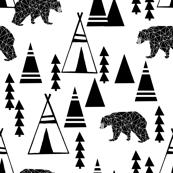 tipi forest // teepee bear forest geometric southwest black and white nursery