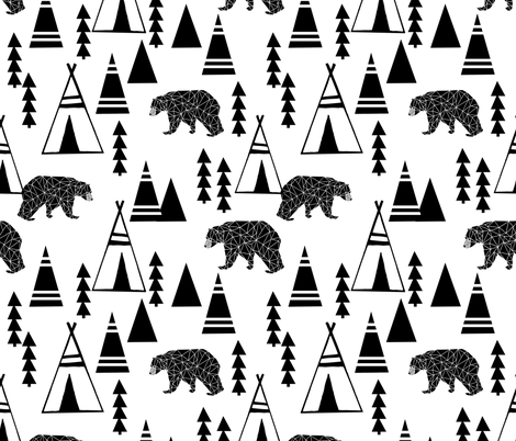tipi forest // teepee bear forest geometric southwest black and white nursery fabric by andrea_lauren on Spoonflower - custom fabric