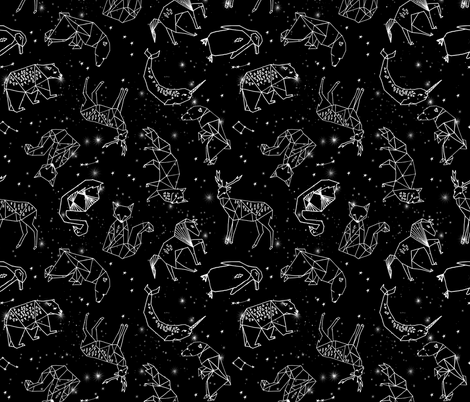 constellations // black and white kids nursery baby geometric animals fabric by andrea_lauren on Spoonflower - custom fabric