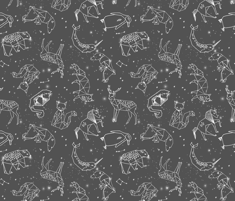 Constellations night time stars sky charcoal grey kids for Night sky print fabric
