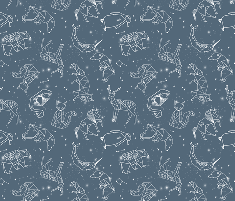 constellations // animal geometric origami illustration blue sky night sky kids nursery baby  fabric by andrea_lauren on Spoonflower - custom fabric