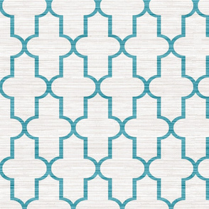 Textured Moroccan Quatrefoil in Teal