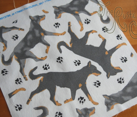 Trotting Beaucerons and paw prints B - white