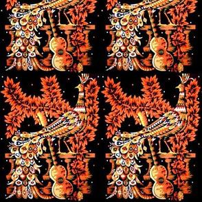 vintage retro kitsch birds peacocks phoenix paradise guitars leaves vines flowers tribal folk art northwest traditional abstract