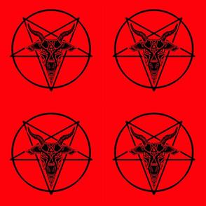 Baphomet goat head red