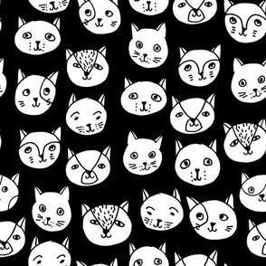 cat head // cat faces cat head cute cats design best black and white cat fabric